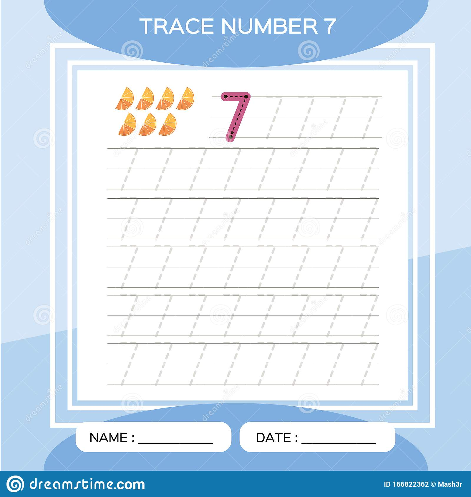 Trace Number 7 Seven Children Educational Game Kids