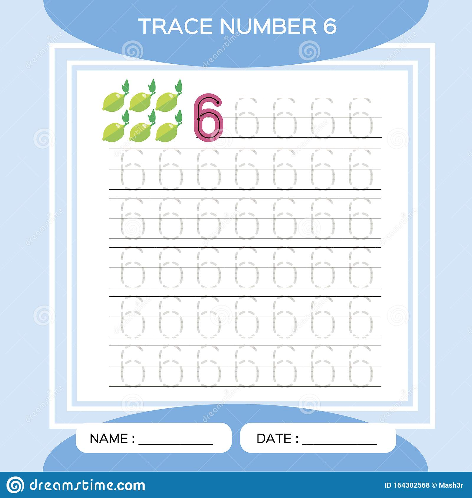Trace Number 6 Six Children Educational Game Kids