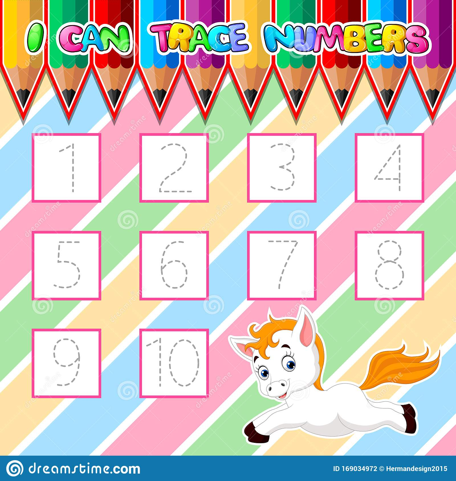 Trace Number Worksheet For Learning Handwriting Stock