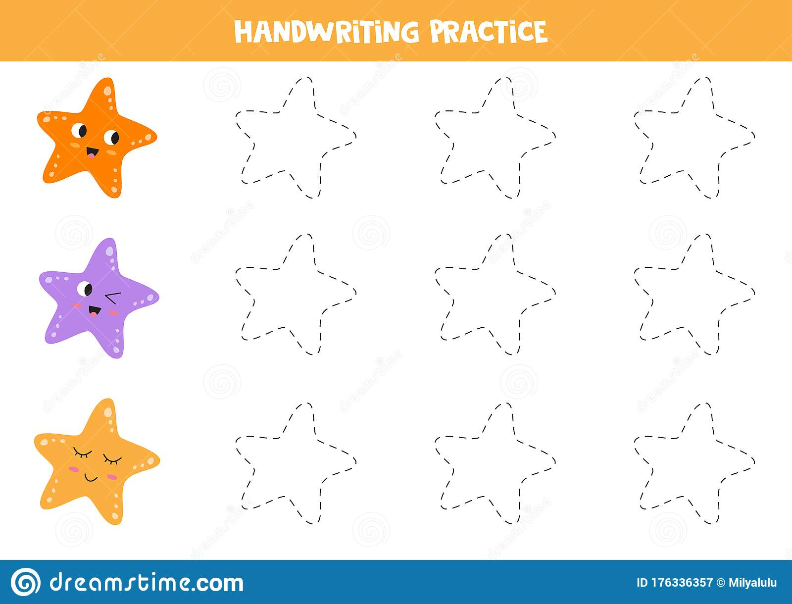 Trace The Outline Of Colorful Sea Starfish Educational