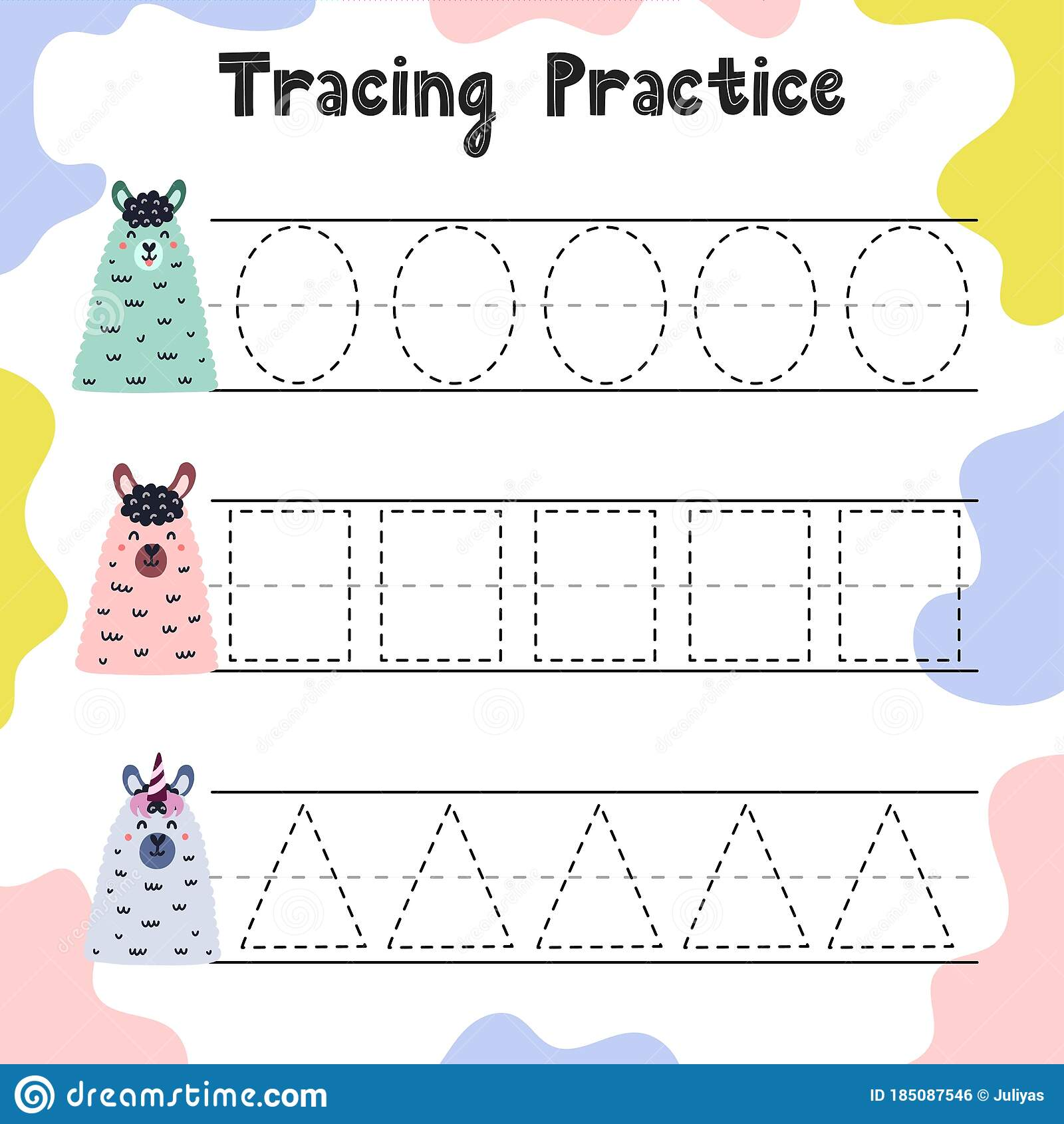 Trace The Shapes Educational Worksheet For Kids Stock