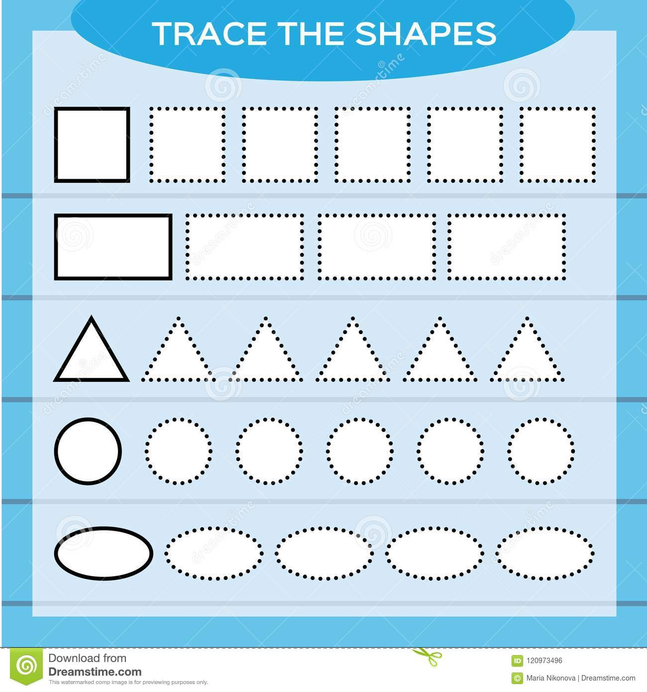 Trace The Shapes Kids Education Preschool Worksheet Basic Writing Kids Doing Worksheets