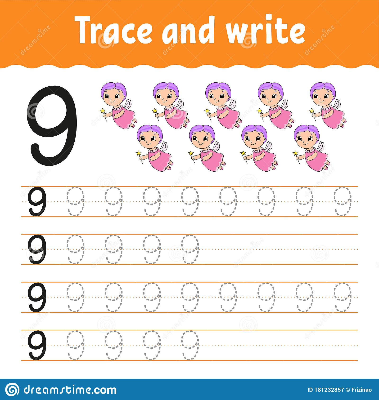 Trace And Write Number 9 Handwriting Practice Learning