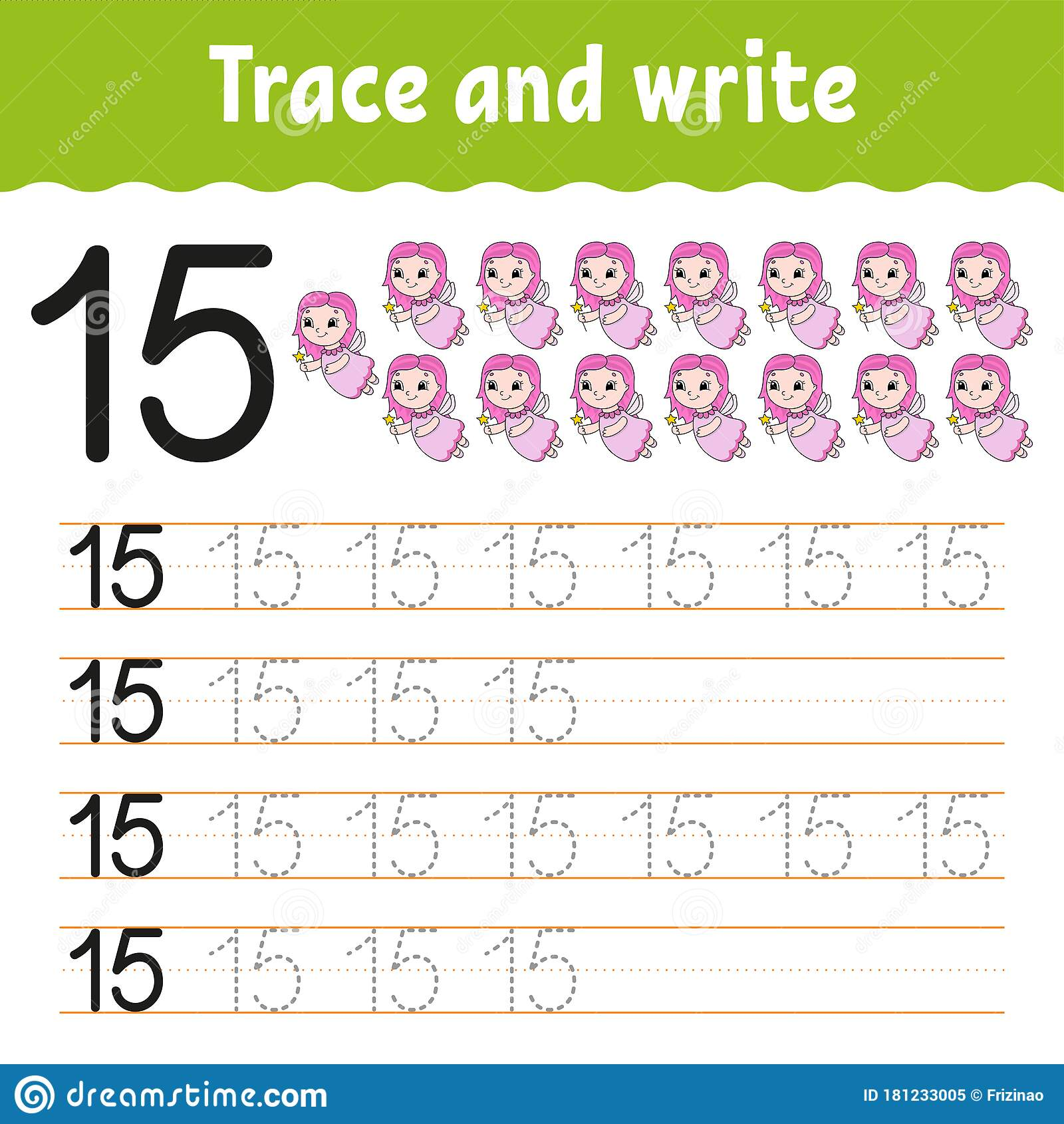 Trace And Write Number 15 Handwriting Practice Learning
