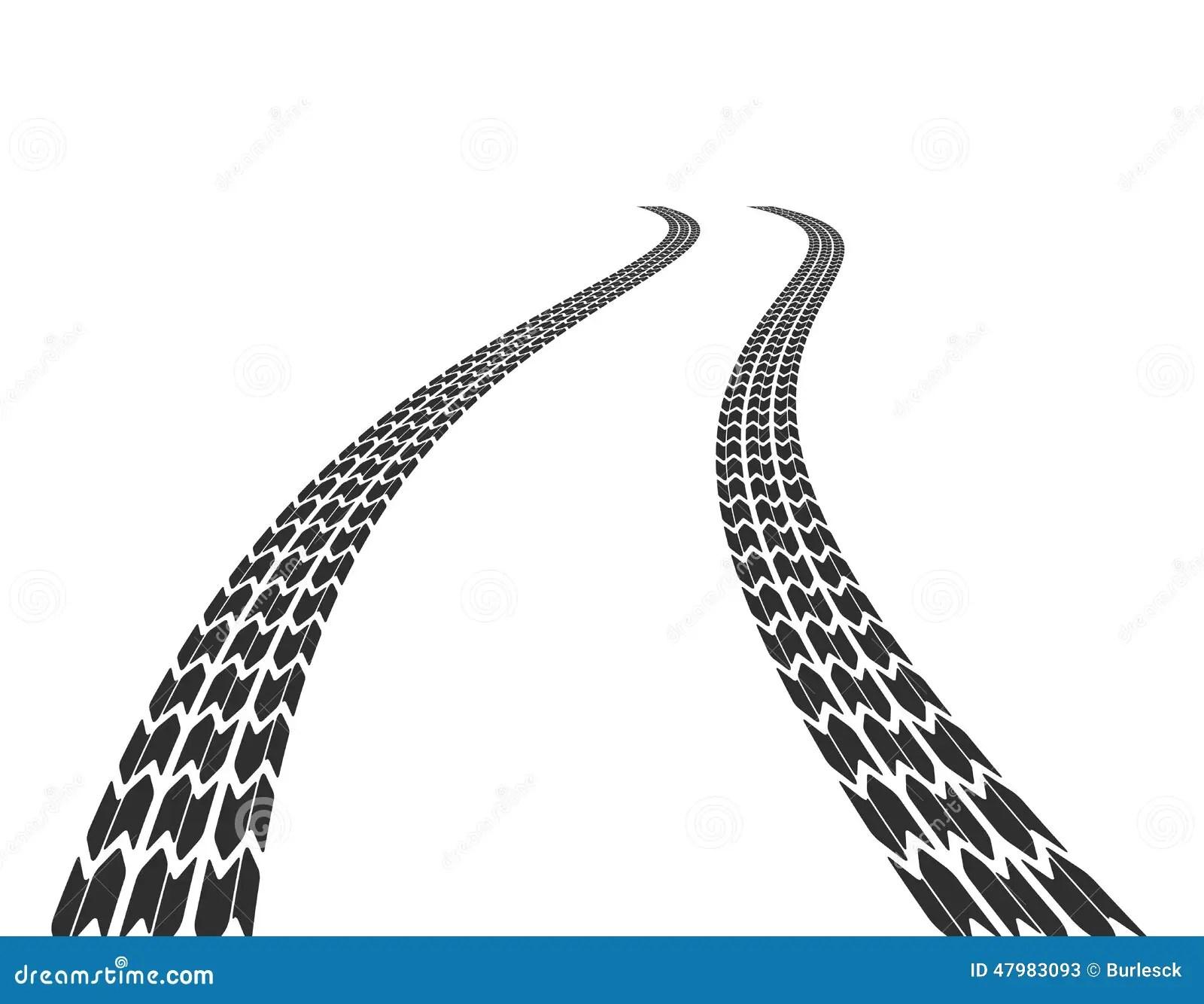 Traces Des Pneus Sur La Route Illustration De Vecteur