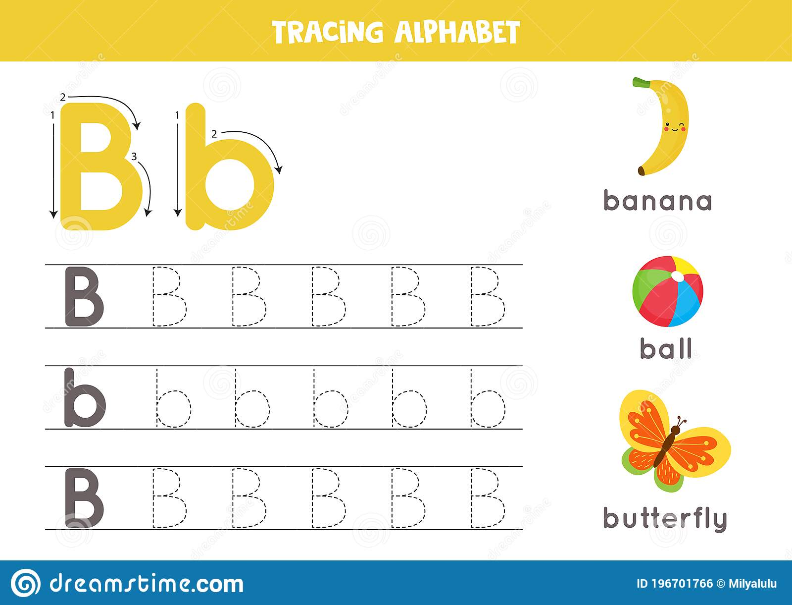Tracing Alphabet Letter B With Cute Cartoon Pictures