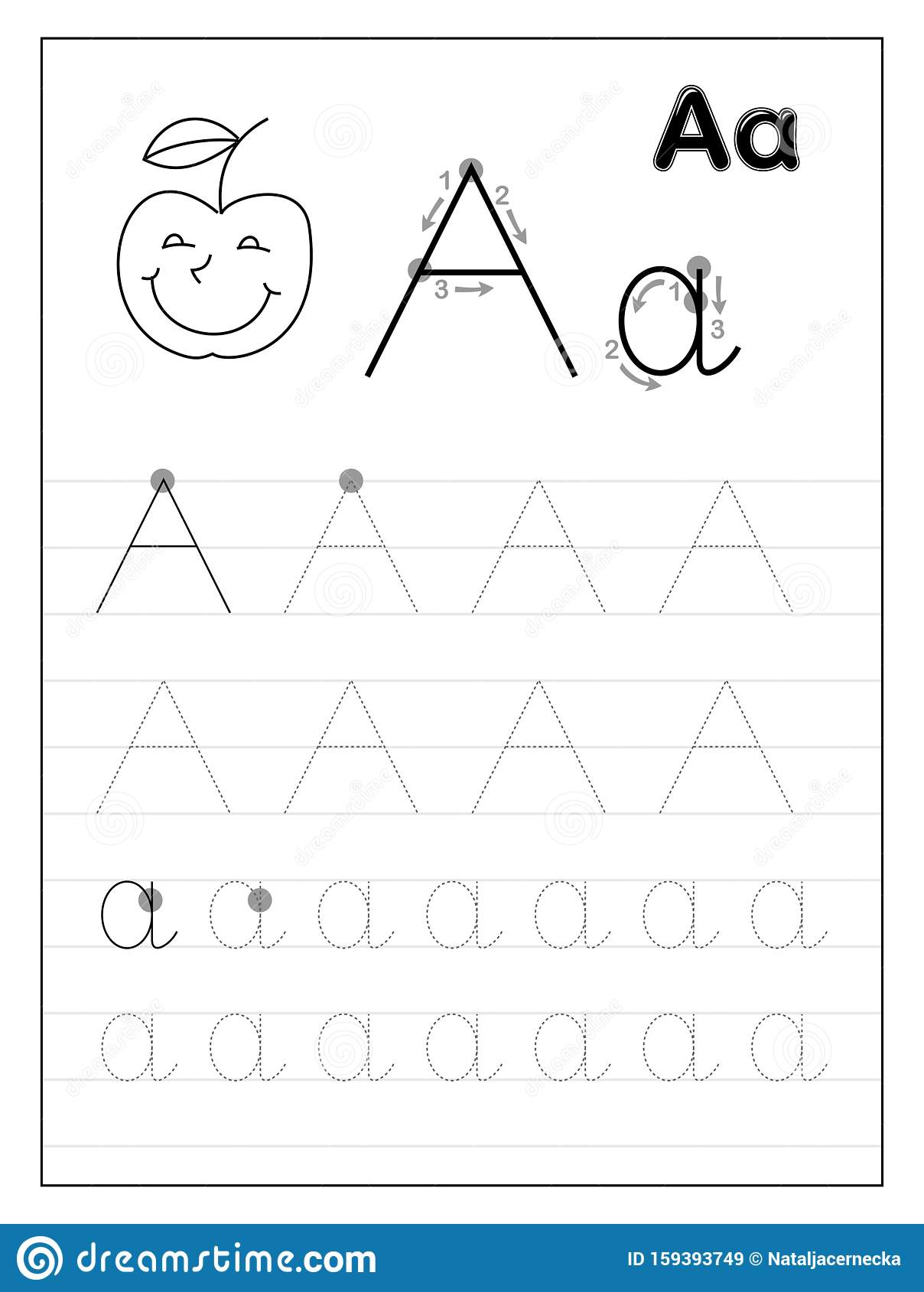 Alphabet Tracing A Z Aa Vector Illustration