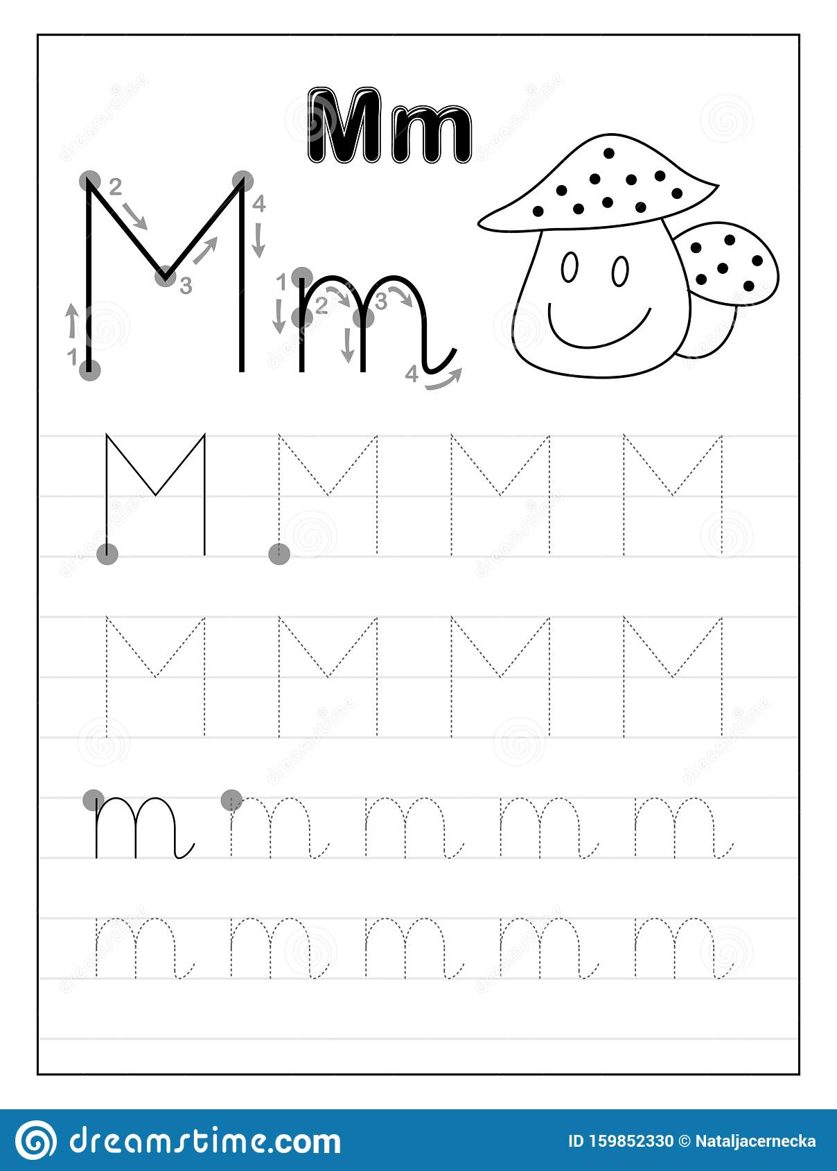 Tracing Alphabet Letter M Black And White Educational