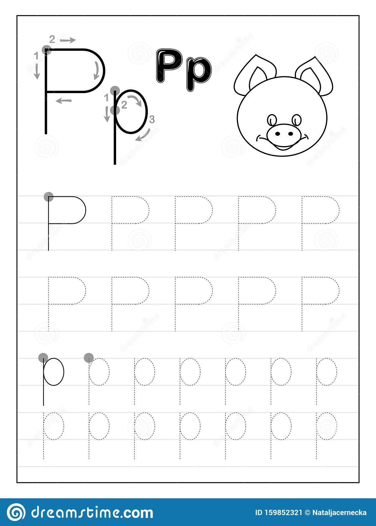 Tracing Alphabet Letter P Black And White Educational