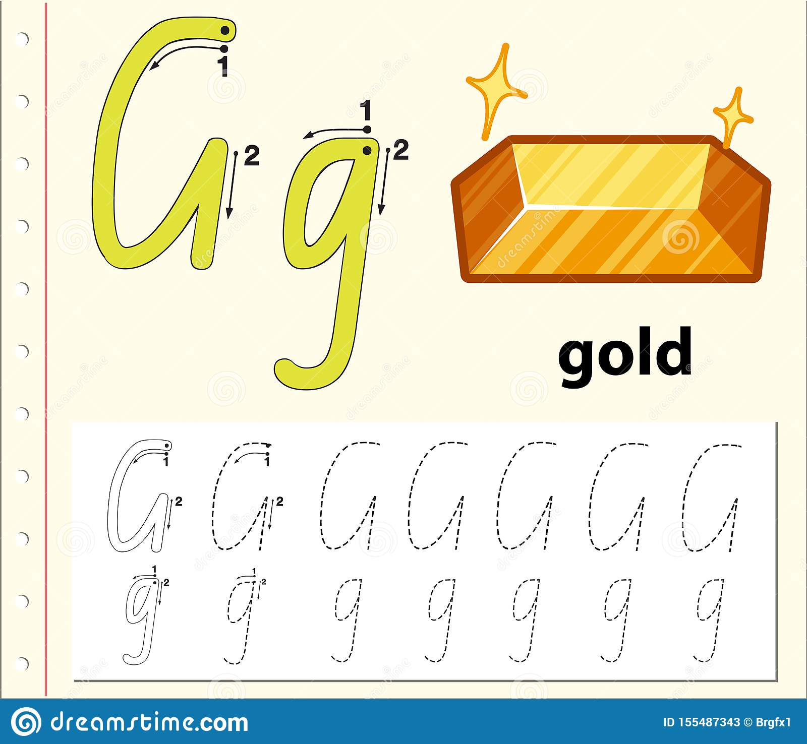 Tracing Alphabet Template For Letter G Stock Vector