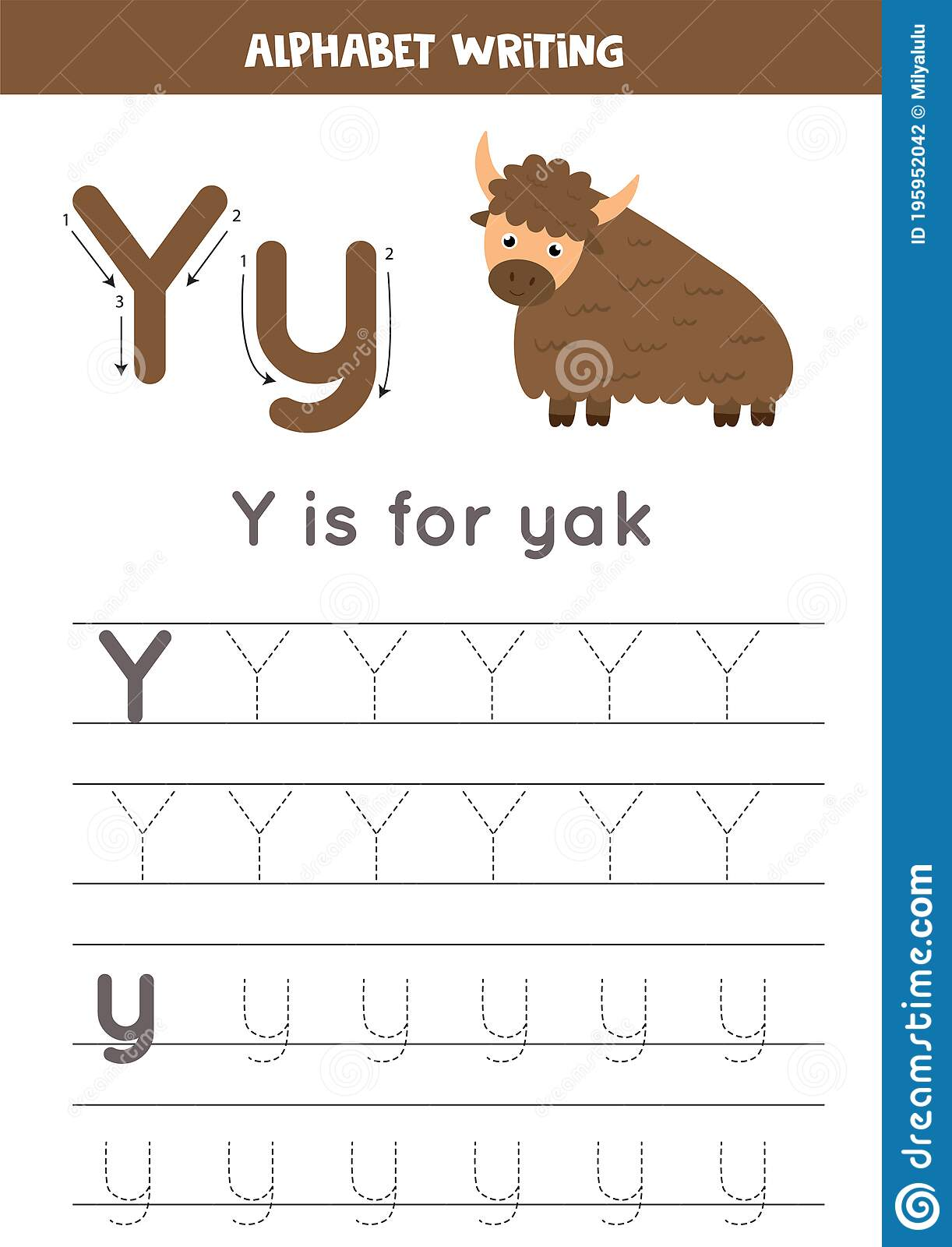 Tracing English Alphabet Letter Y Is For Yak Stock