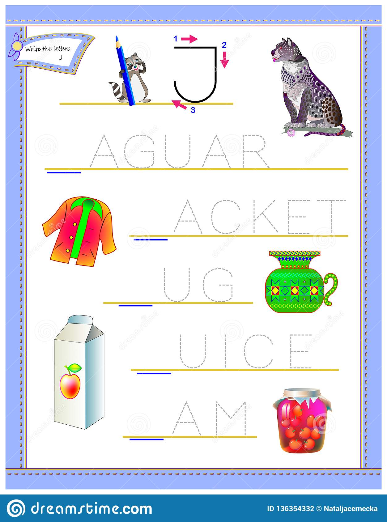Tracing Letter J For Study English Alphabet Printable