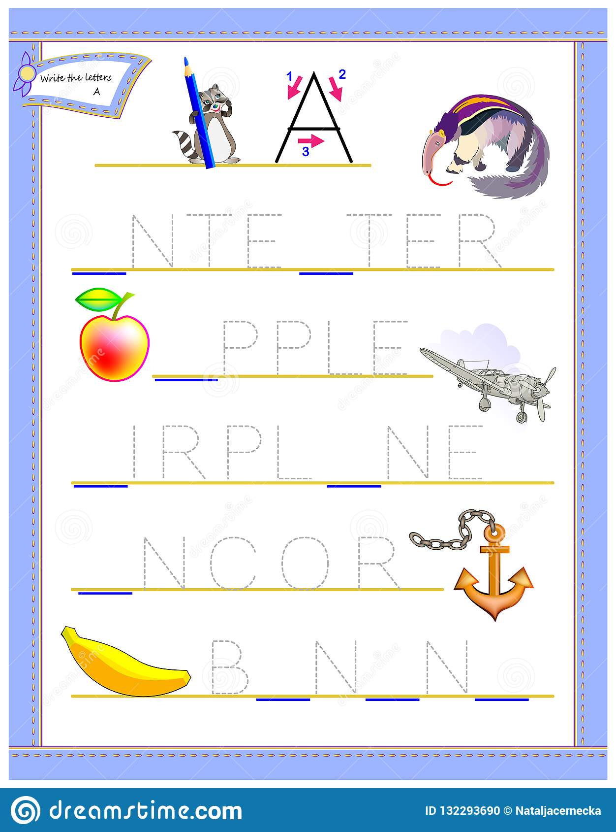 Tracing Letter A For Study English Alphabet Worksheet For