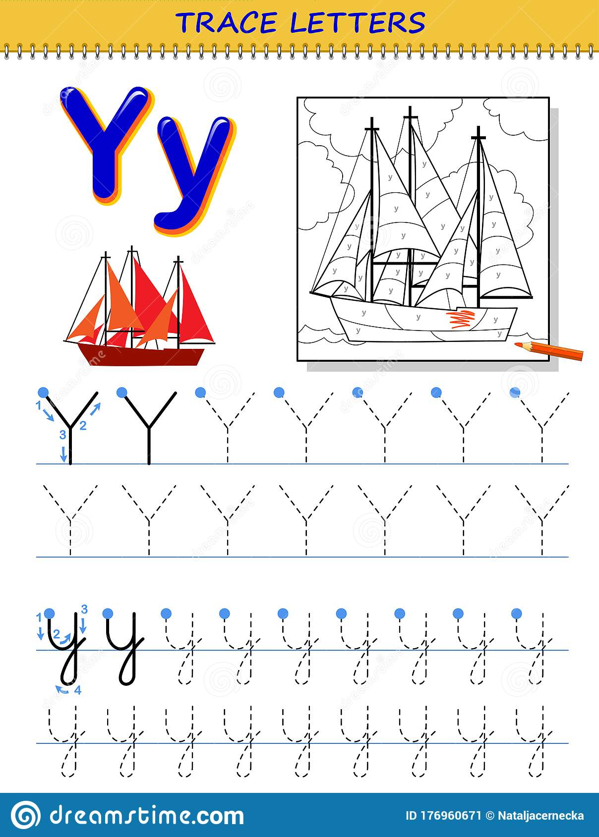 Tracing Letter Y For Study Alphabet Printable Worksheet
