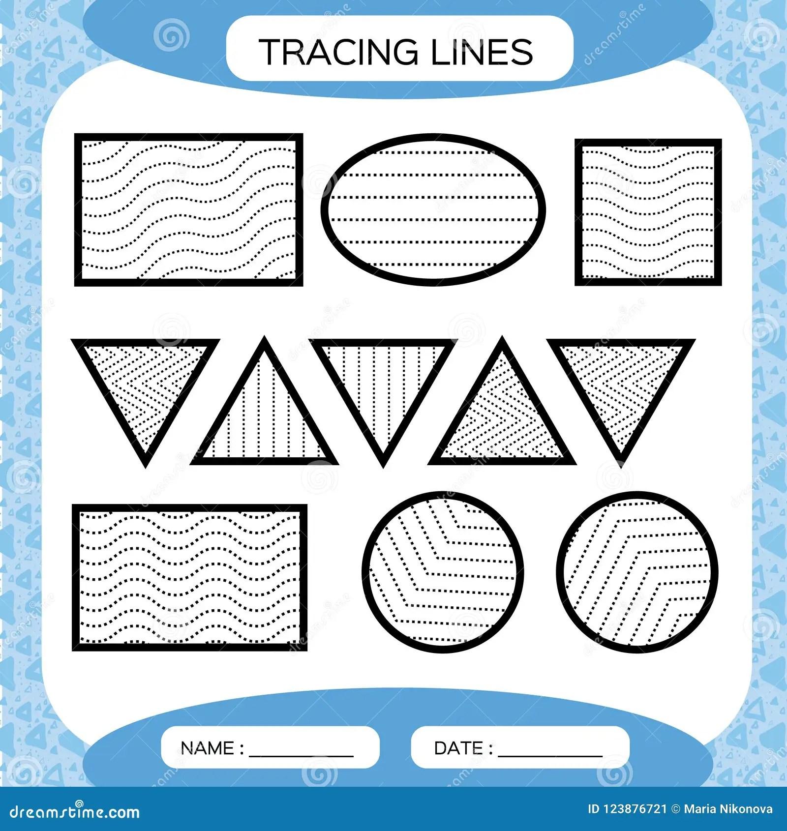 Tracing Lines Kids Education Preschool Worksheet Basic