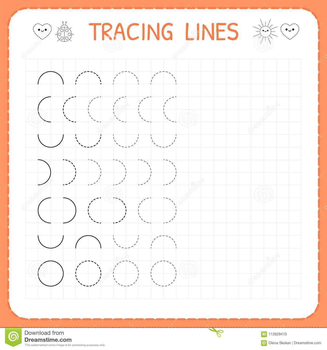Tracing Lines Worksheet For Kids Basic Writing Working