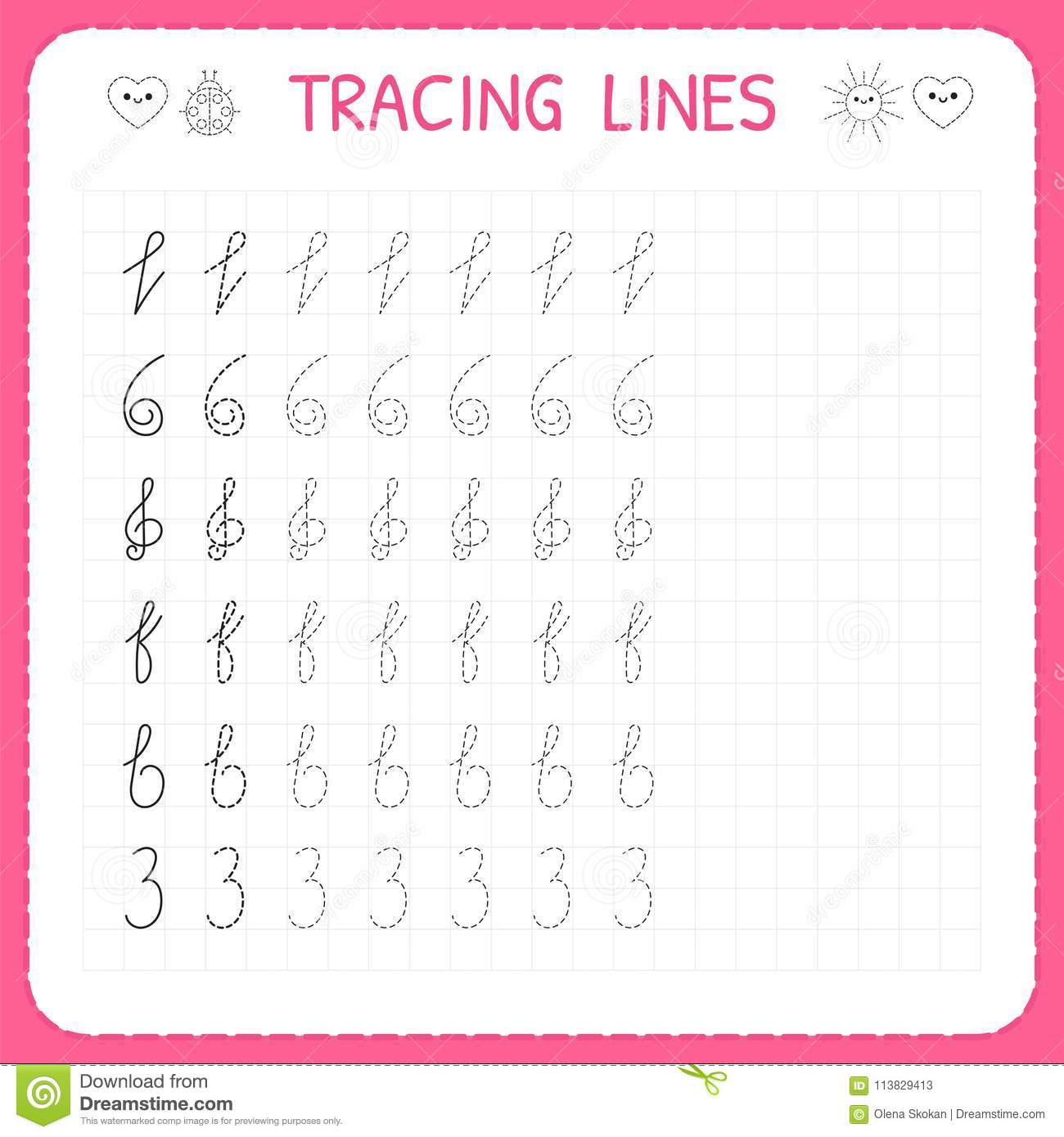 Tracing Lines Worksheet For Kids Trace The Pattern