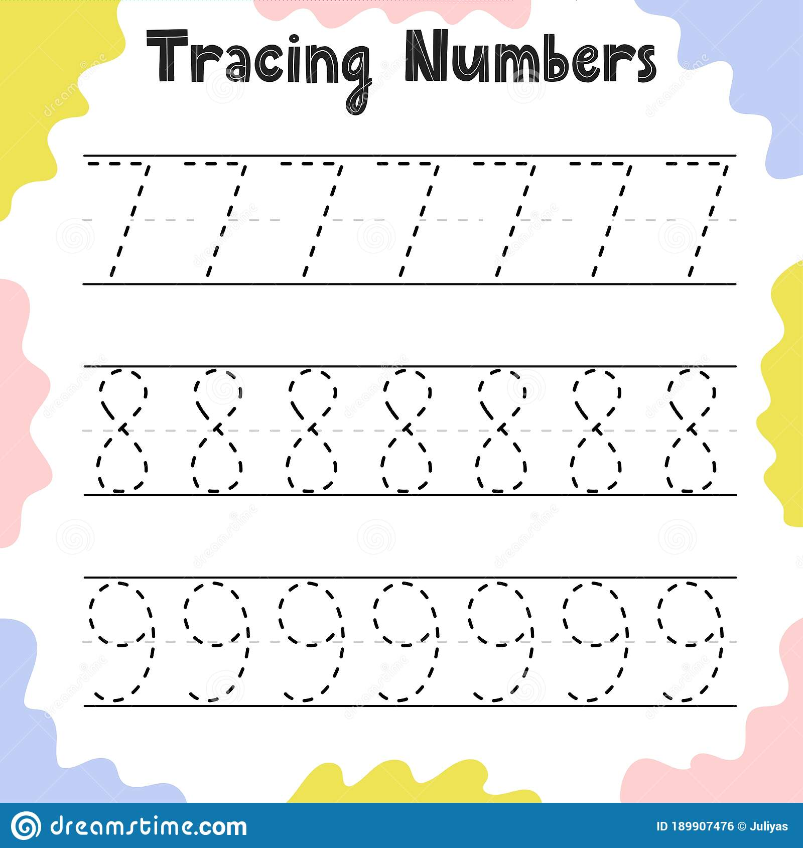Tracing Numbers 7 8 9 Activity Page For Kids Preschool