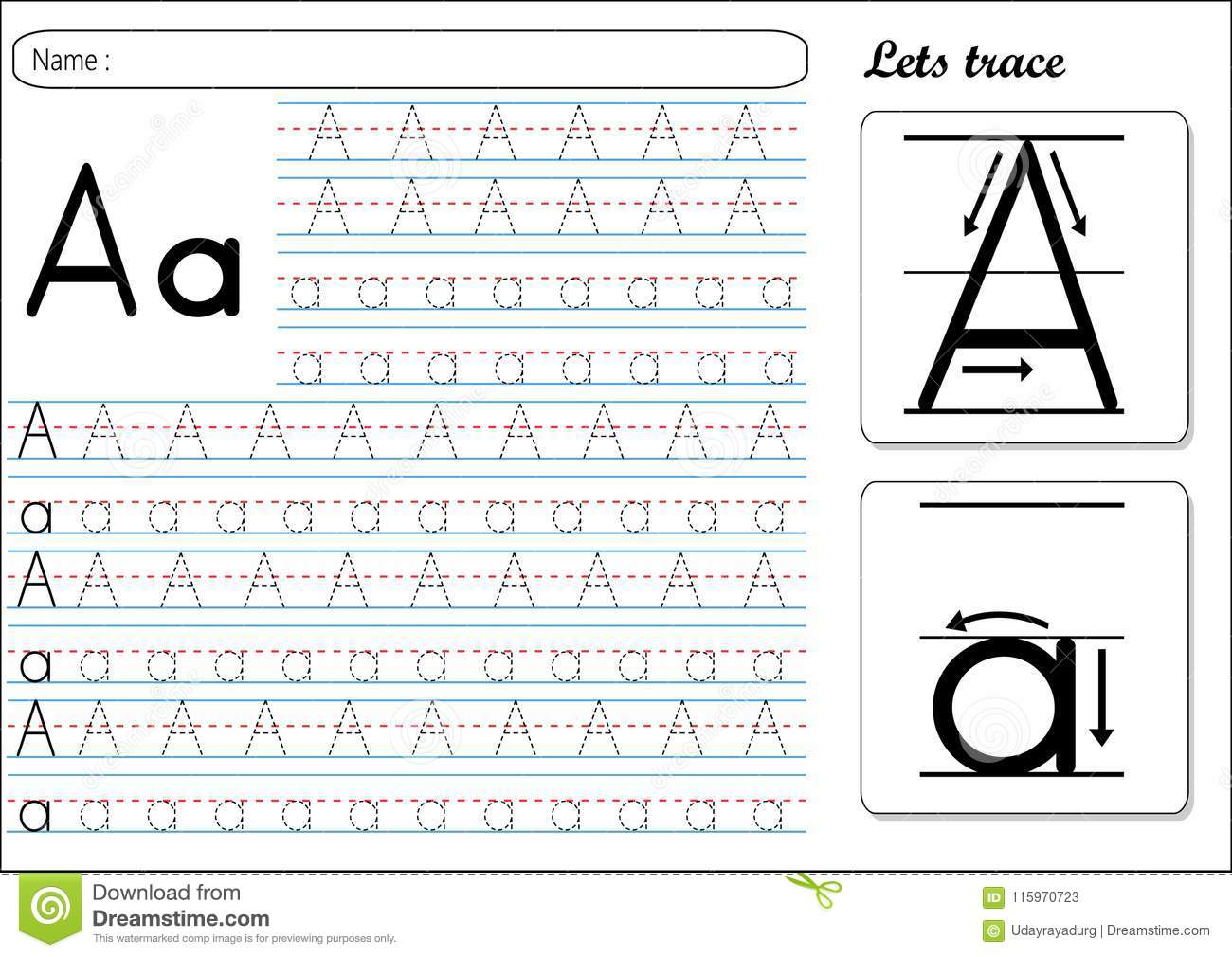 Tracing Worksheet Aa Stock Vector Illustration Of Small
