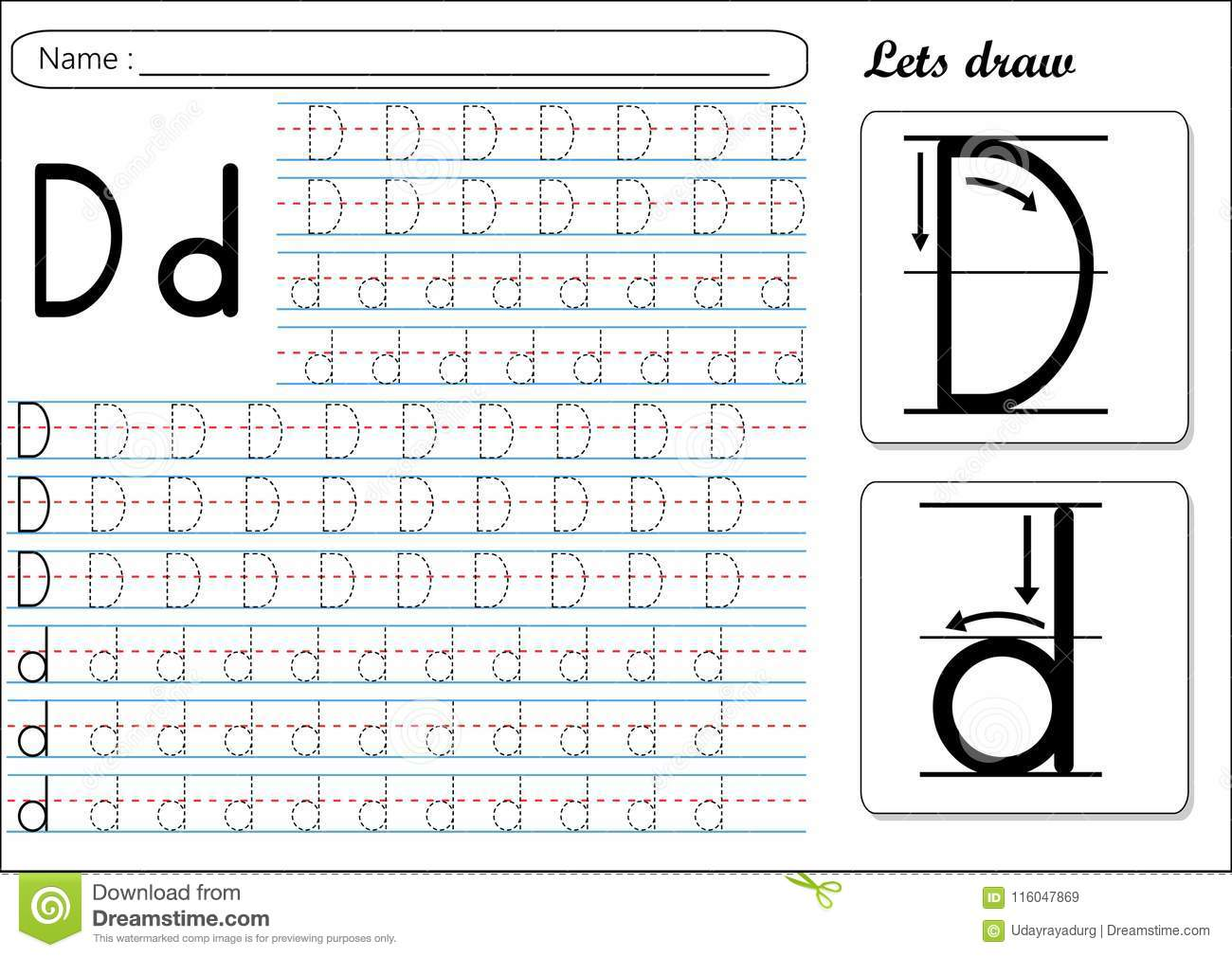 Tracing Worksheet Dd Stock Vector Illustration Of Made