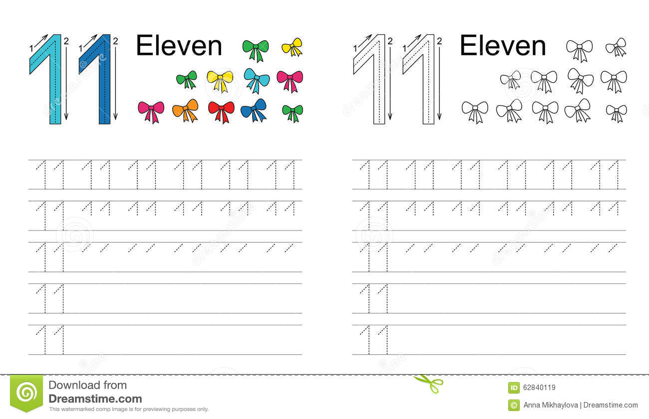 Tracing Worksheet For Figure Eleven Stock Vector