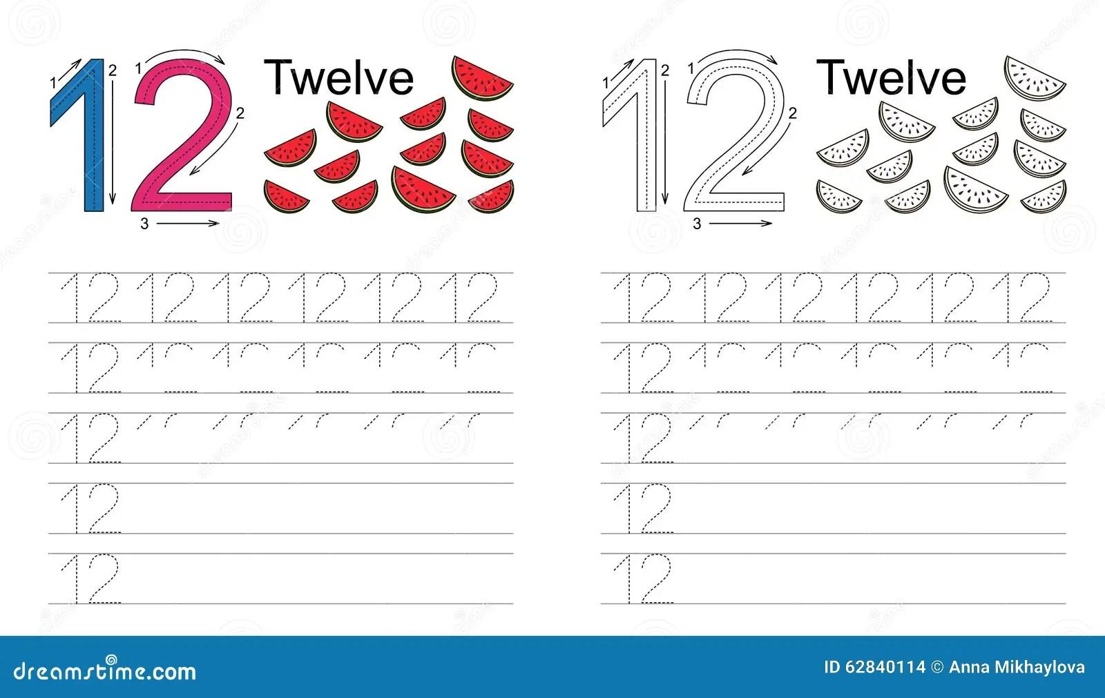 Tracing Worksheet For Figure Twelve Stock Vector