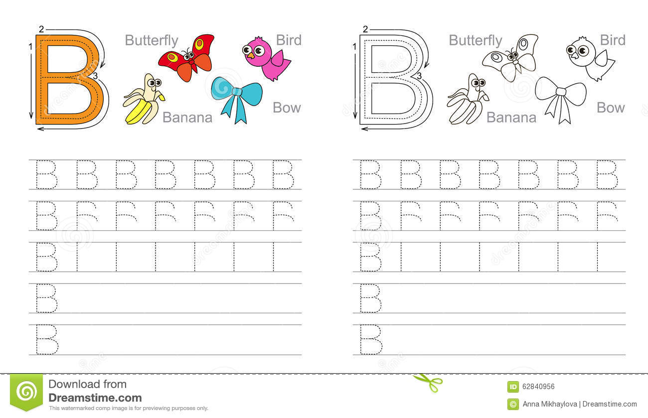 Tracing Worksheet For Letter B Stock Vector