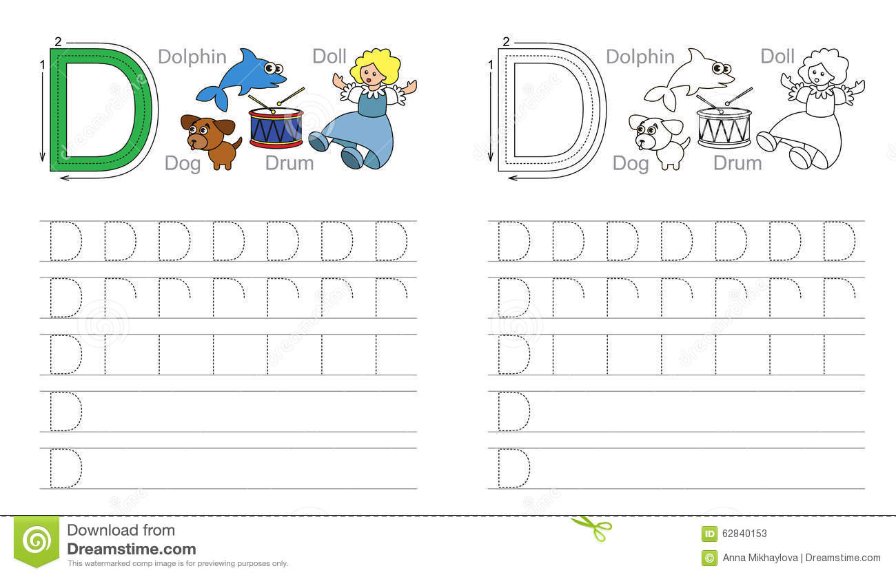 Tracing Worksheet For Letter D Stock Vector