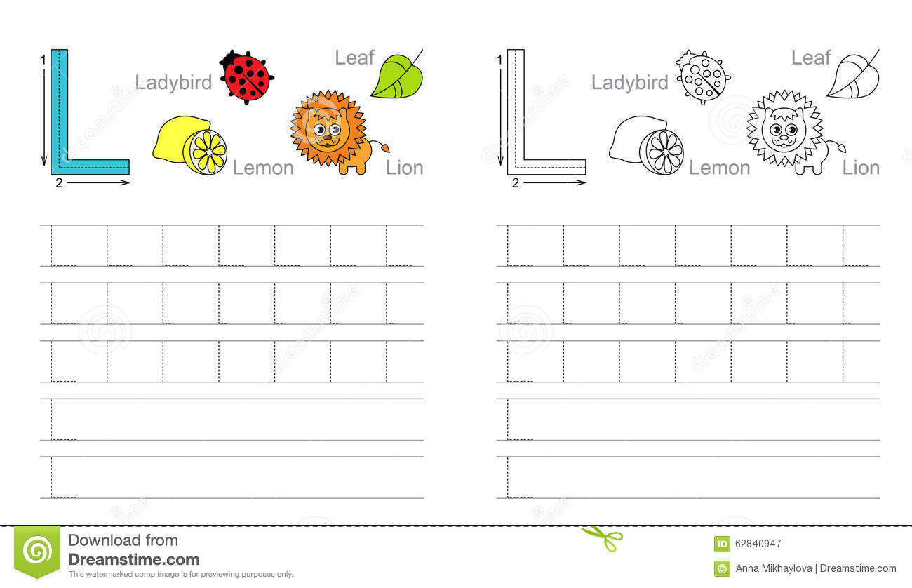Tracing Worksheet For Letter L Stock Vector