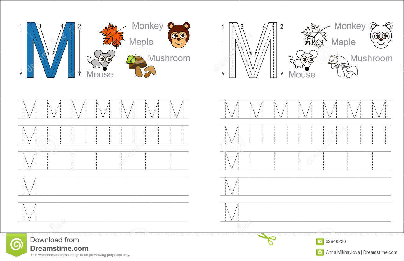 Tracing Worksheet For Letter M Stock Vector