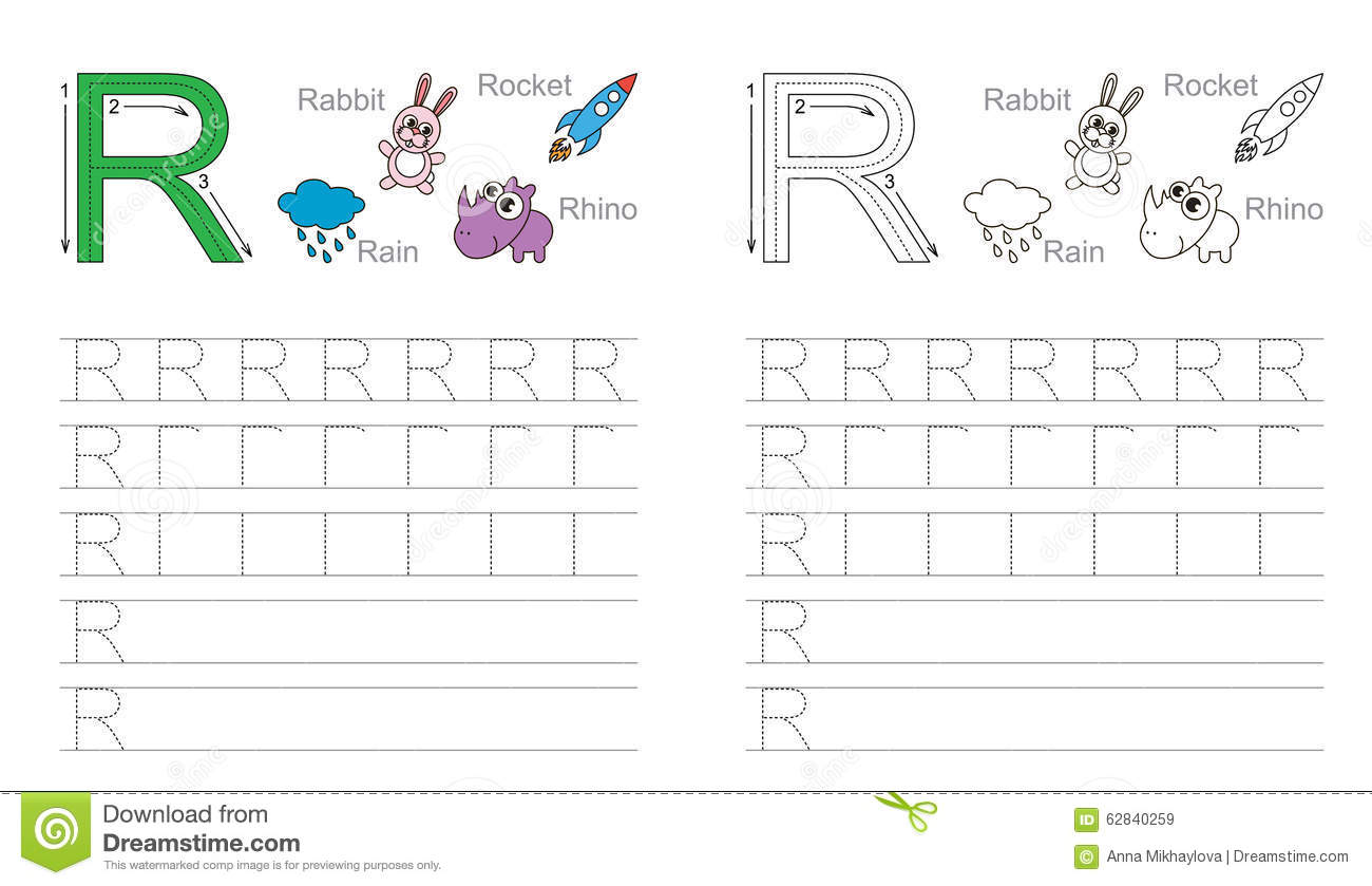Tracing Worksheet For Letter R Stock Vector