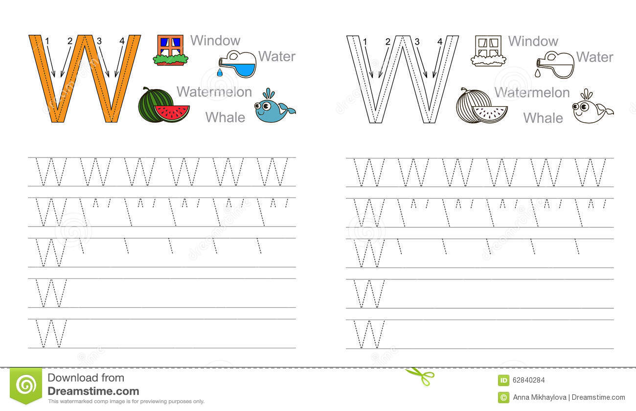 Tracing Worksheet For Letter W Stock Vector