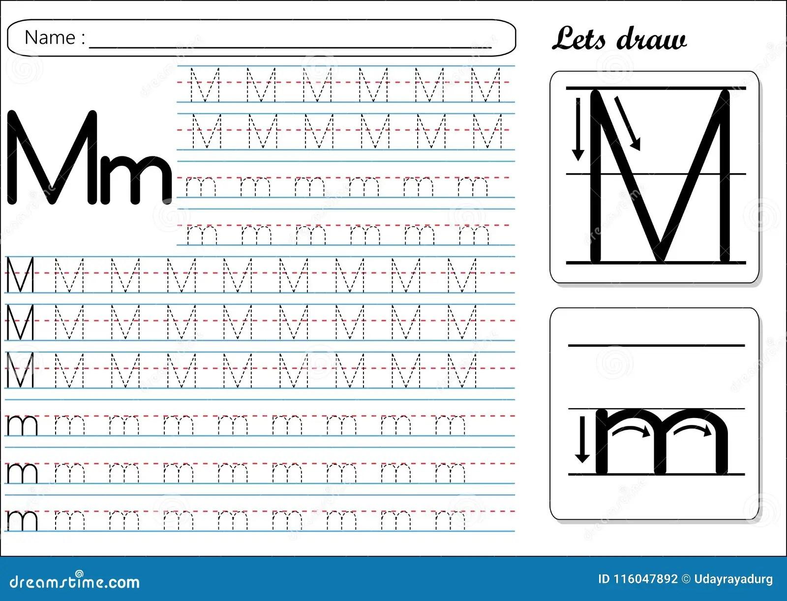 Tracing Worksheet Mm Stock Vector Illustration Of Kids