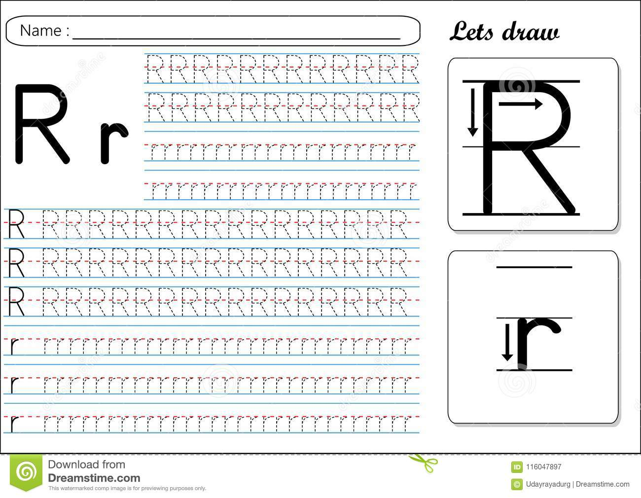 Tracing Worksheet Rr Stock Vector Illustration Of