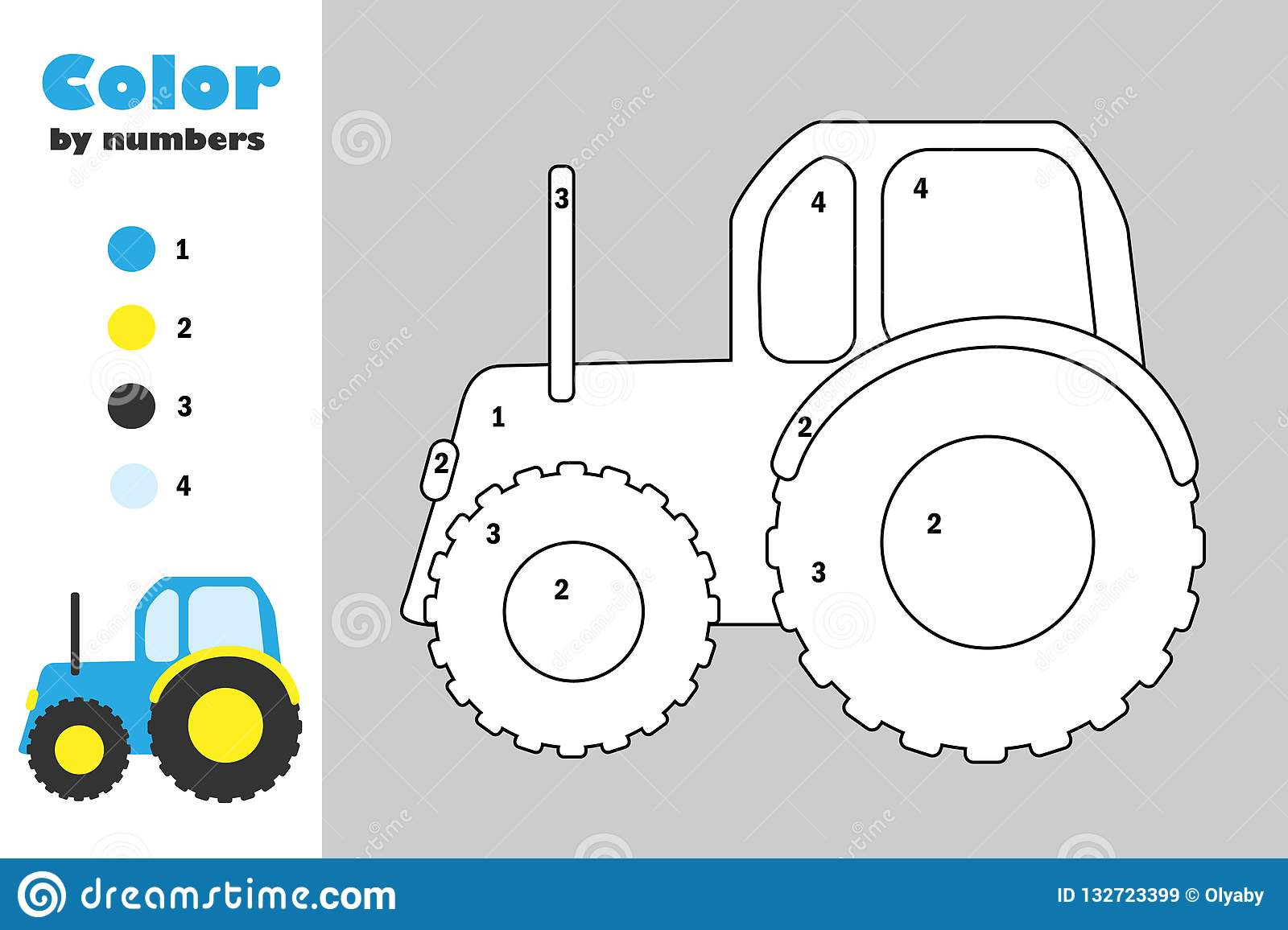Tractor In Cartoon Style Color By Number Education Paper