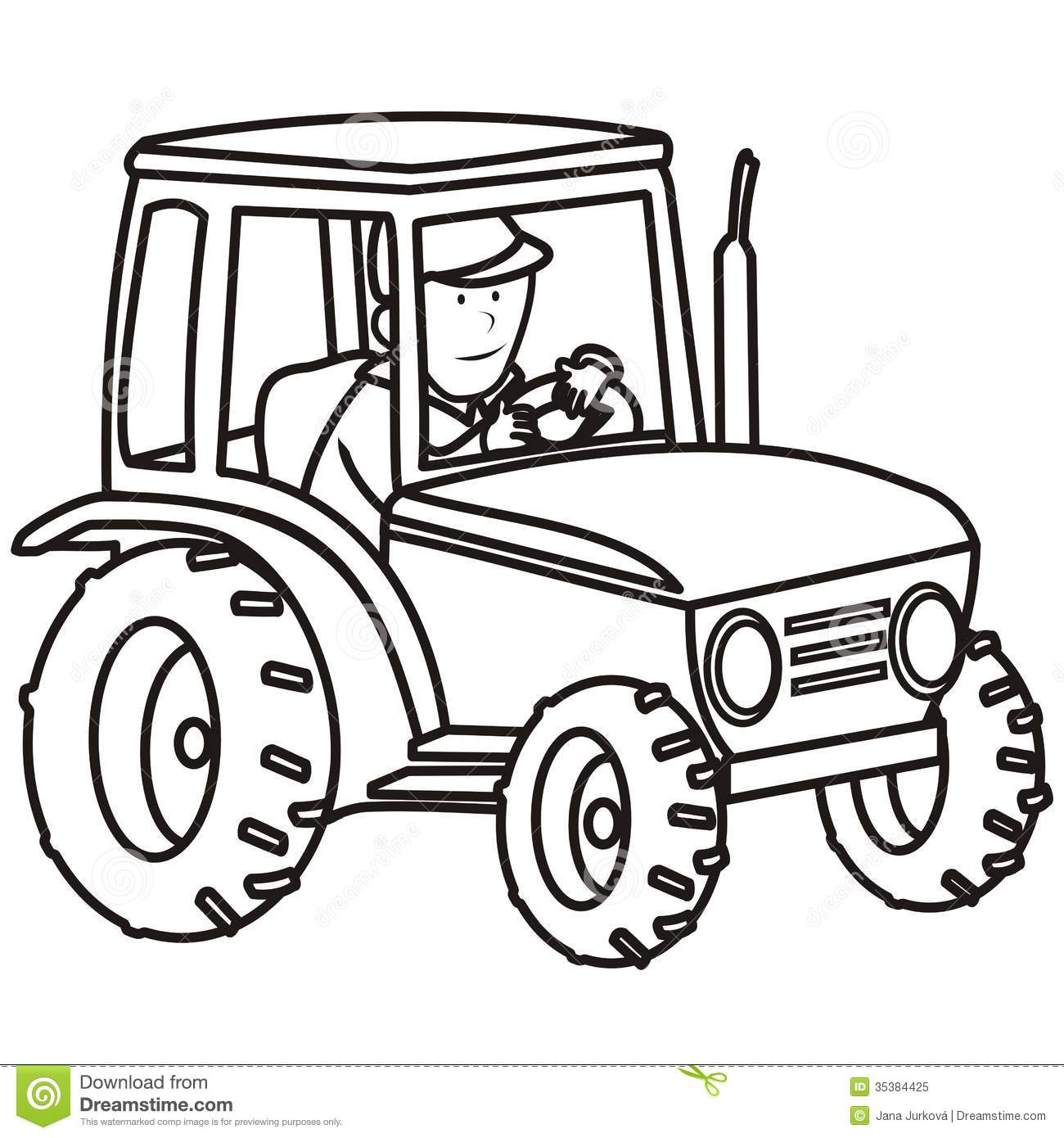 Tractor-coloring book stock vector. Image of chimney