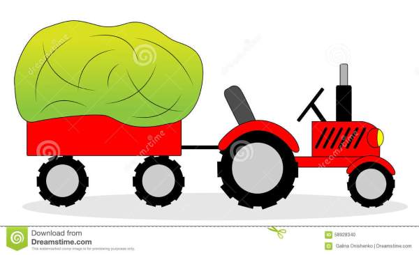 tractor and hay wagon stock vector