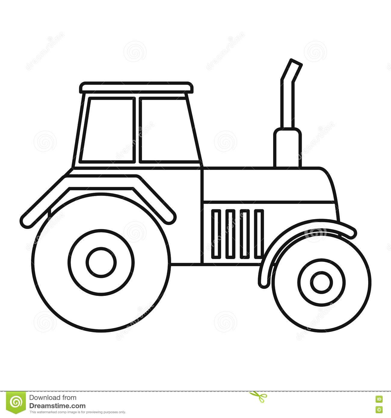 Tractor Icon Outline Style Stock Vector