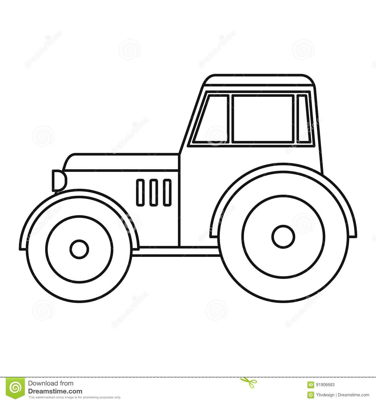 Tractor Icon Outline Stock Vector Illustration Of