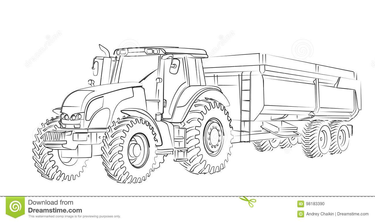 Tractor Sketch Stock Vector Illustration Of Drawing
