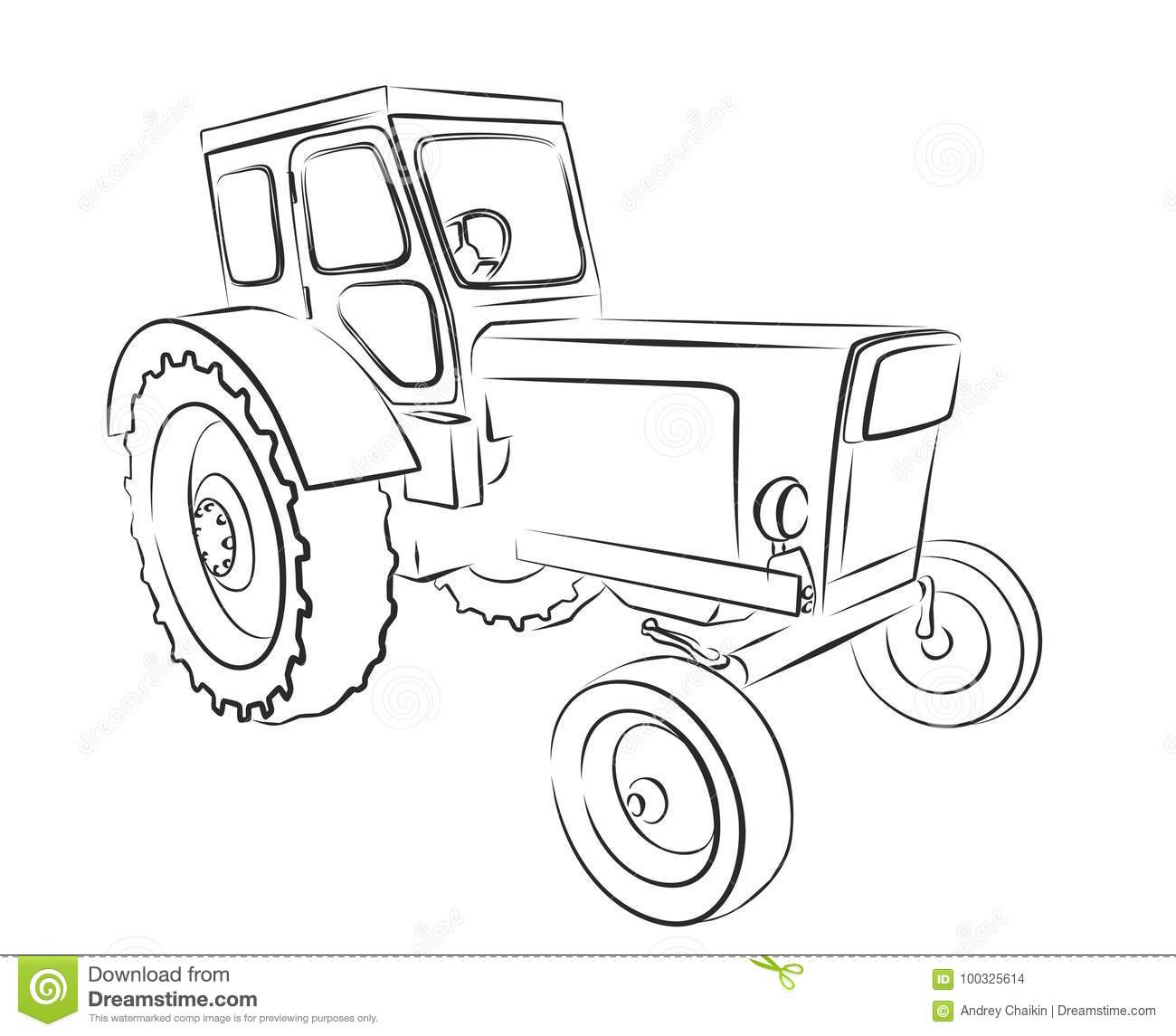 Tractor Sketch Stock Vector Illustration Of Tractorn