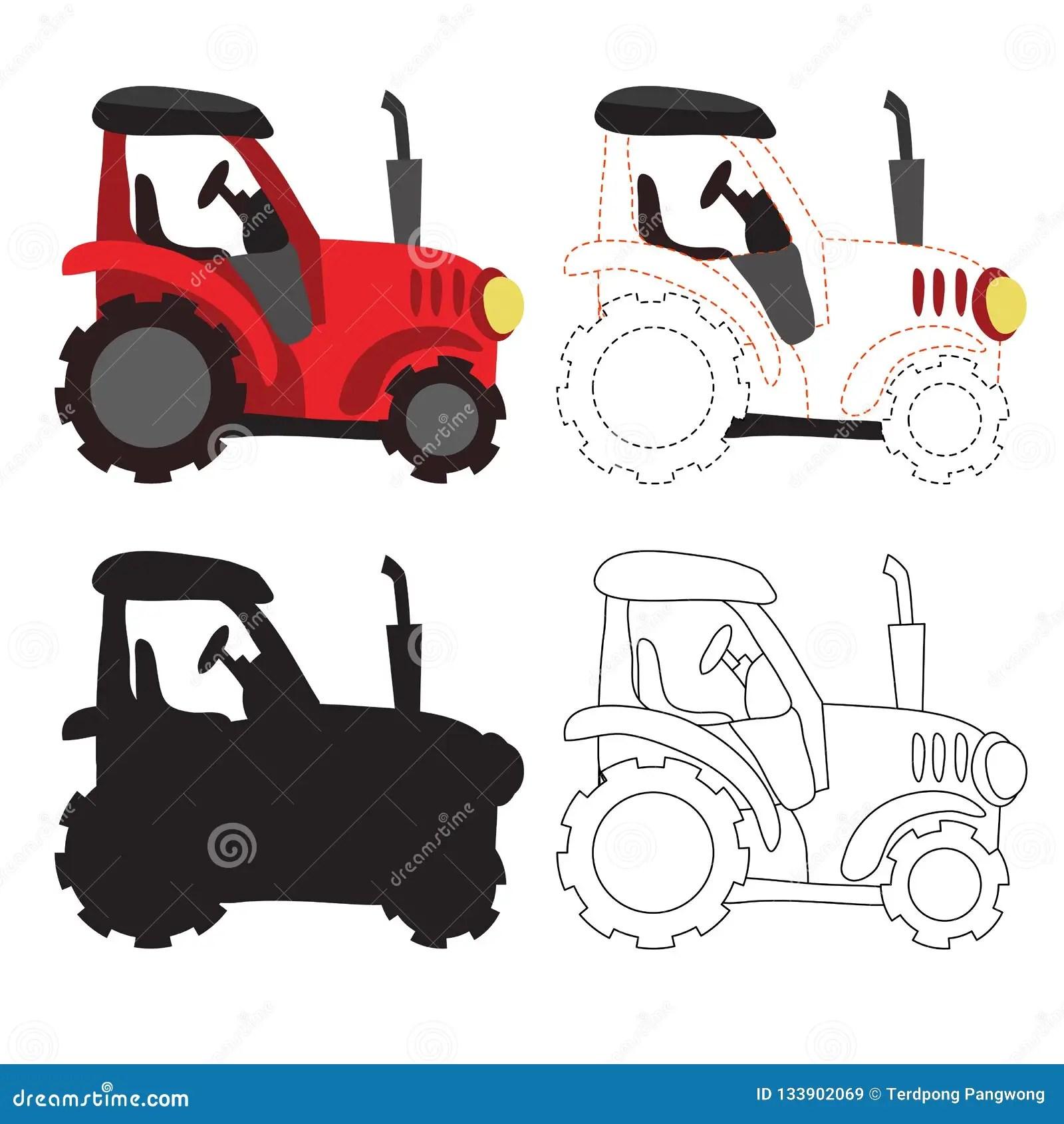 Tractor Worksheet Vector Design Stock Vector