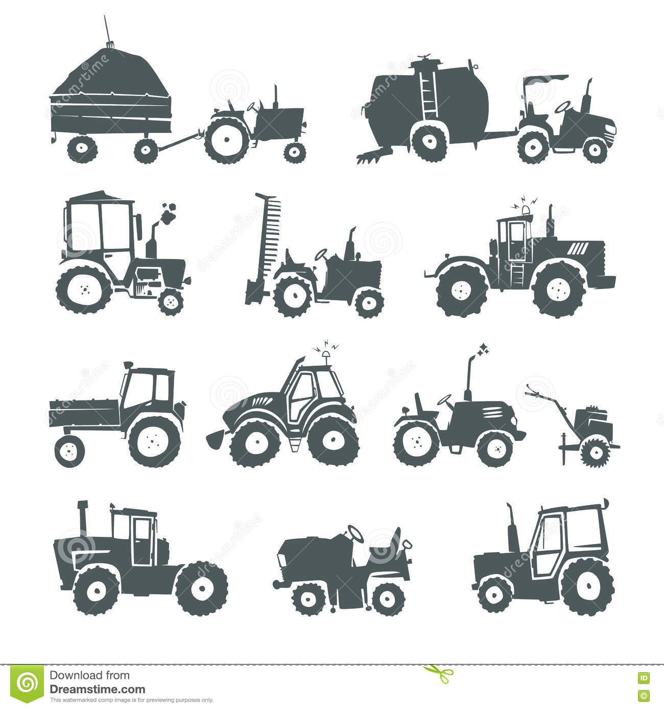 Tractors Icon Set Stock Vector Illustration Of Industry