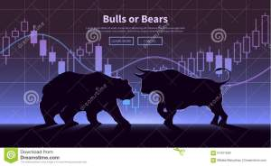 Trading Banner The Bulls And Bears Stock Image  Image
