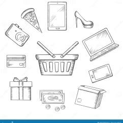 Sketch Diagram Online Kawasaki Bayou 250 Parts Trading Icons For Shopping Stock Vector Illustration