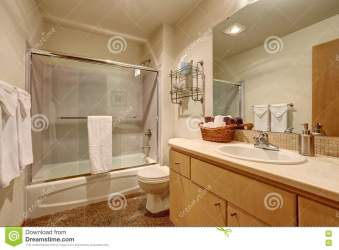 Traditional Bathroom Interior In American House Stock Image Image of indoor light: 79897135