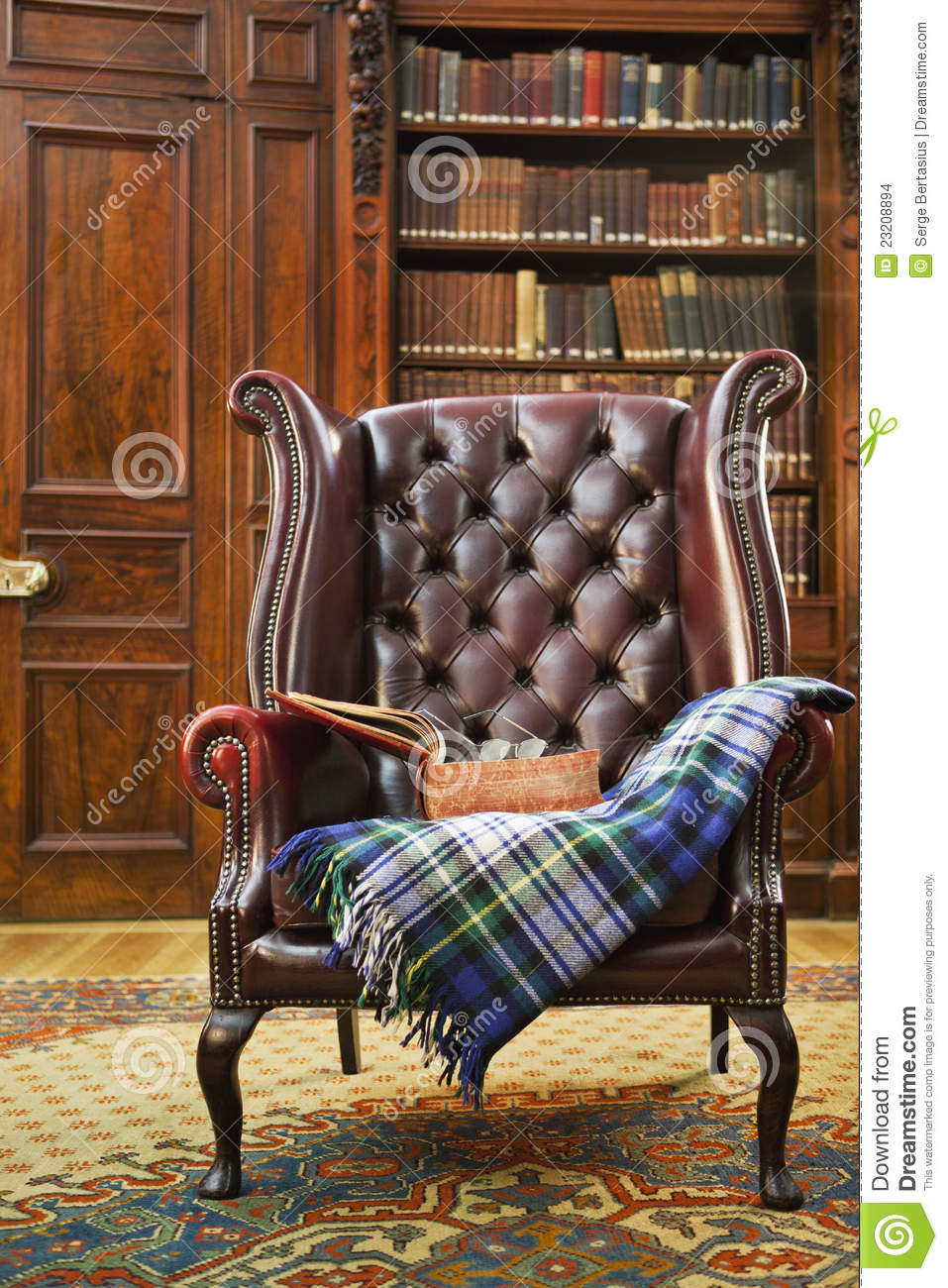 tartan chesterfield sofa faux leather bed uk traditional armchair stock photo image of heritage with blanket in classical library room
