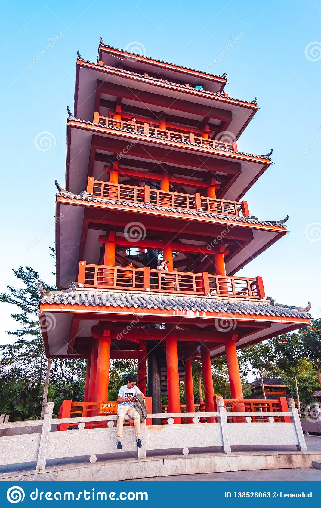 Traditional Chinese Temple Of Red Color Editorial Stock