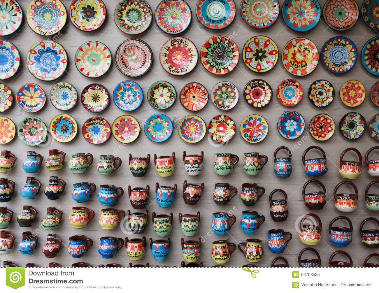 Traditional Colorful Ceramic Plates On The Wall Stock