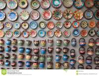 Traditional Colorful Ceramic Plates On The Wall Stock ...